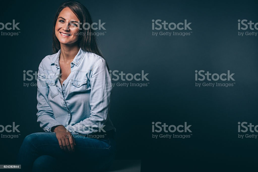Smiling woman portrait stock photo