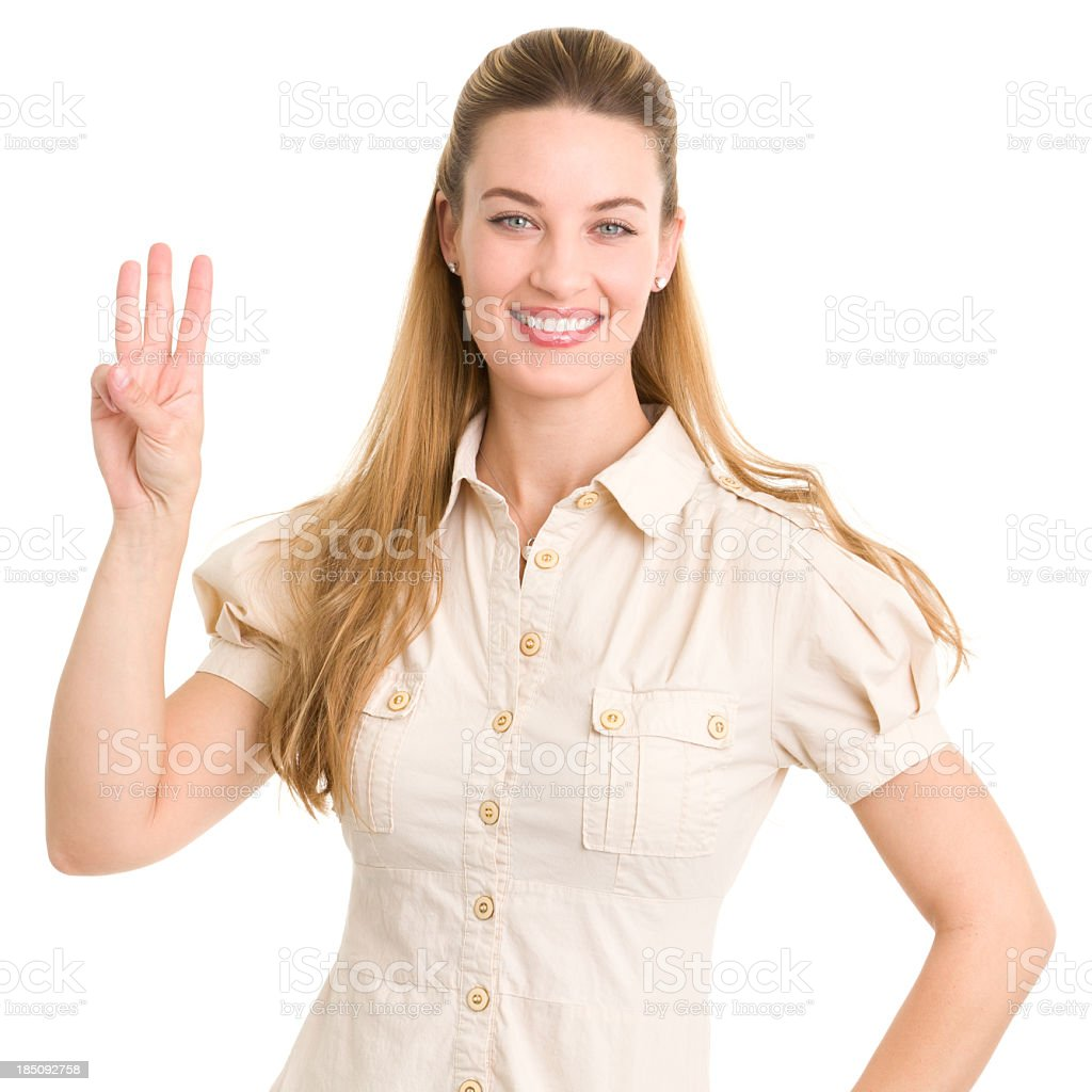 Smiling Woman Shows 3 Fingers royalty-free stock photo