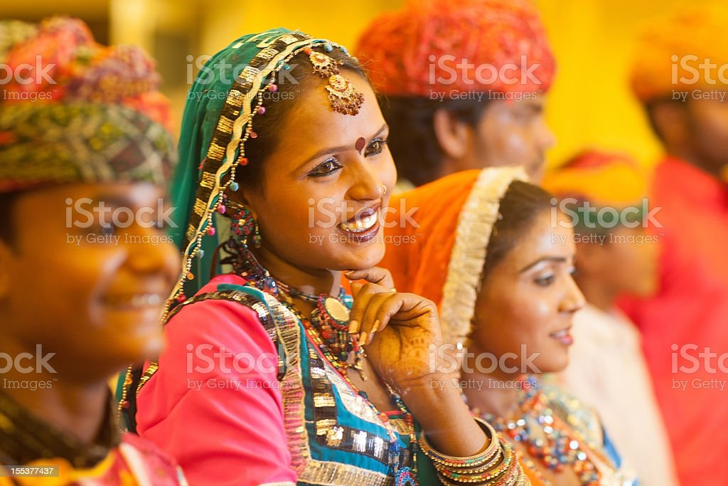 Smiling Woman Traditional Indian Music Performance Group royalty-free stock photo
