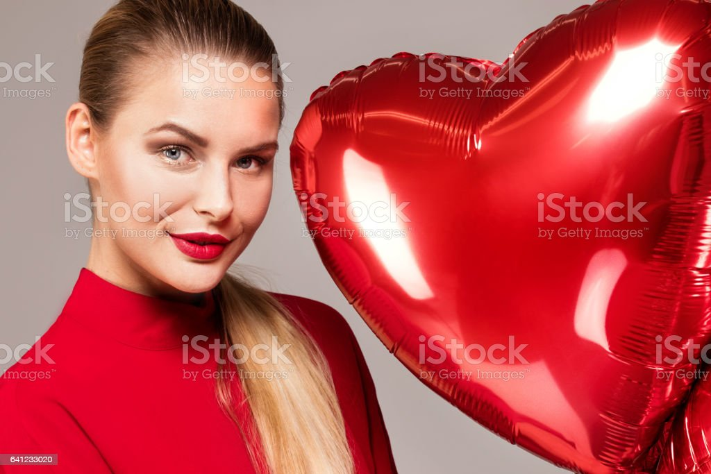 Smiling woman, valentine's day. stock photo