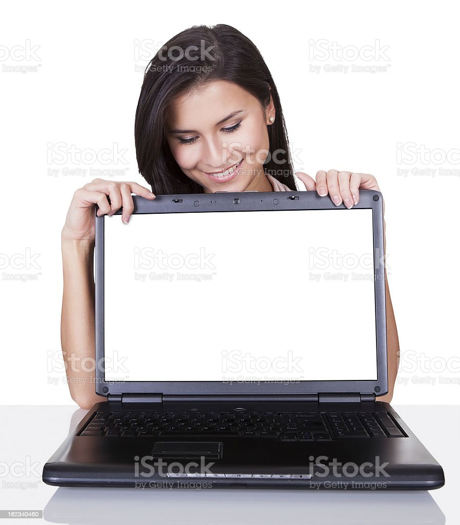Smiling woman with blank laptop screen royalty-free stock photo