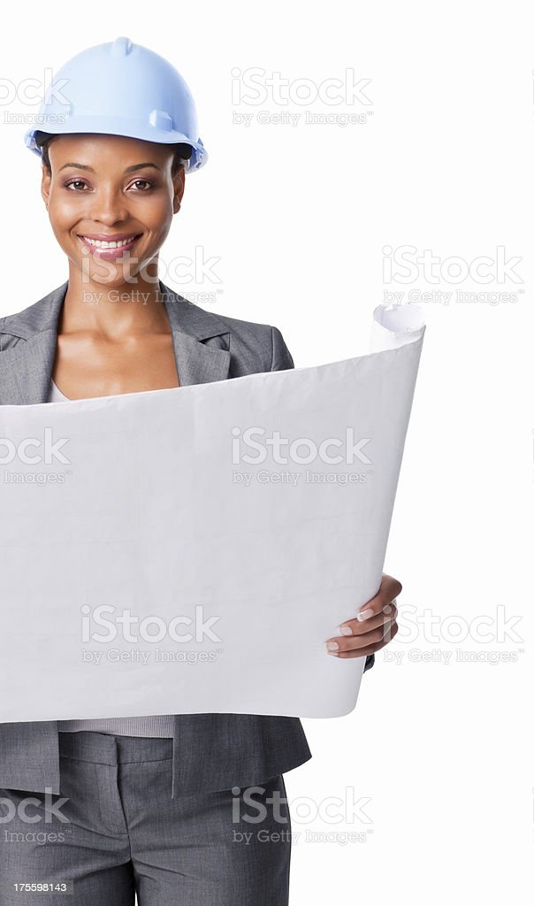 Smiling Woman With Blue Print - Isolated royalty-free stock photo