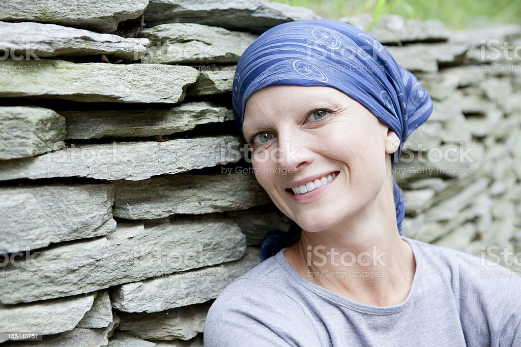 Smiling Woman with Cancer royalty-free stock photo