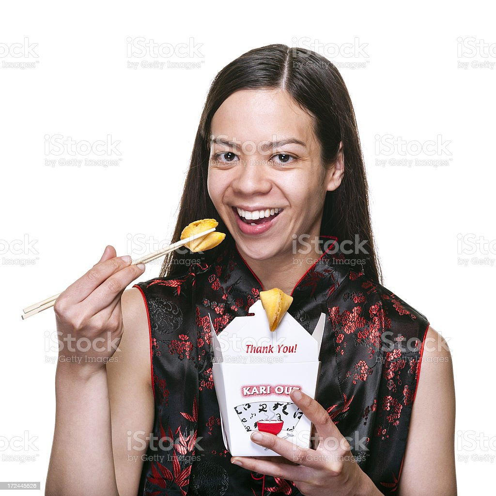 Smiling Woman with Chinese Takeout Box and Fortune Cookies royalty-free stock photo