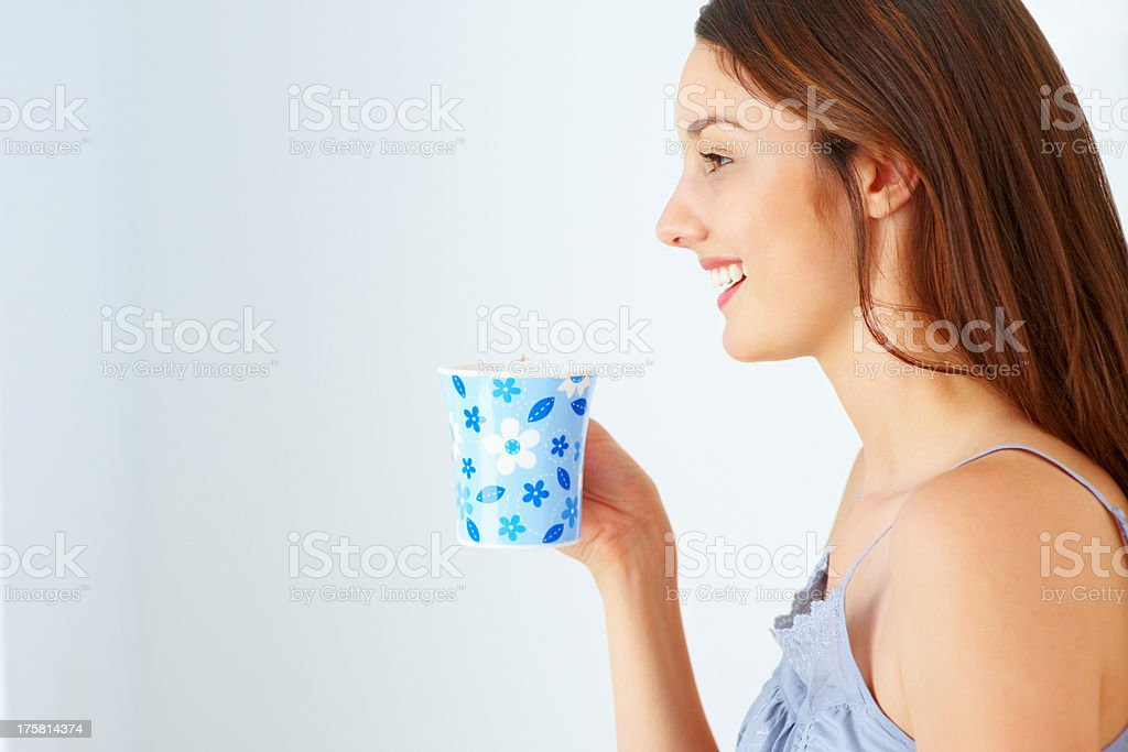 Smiling woman with coffee stock photo