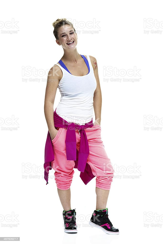 Smiling woman with exercise clothes stock photo