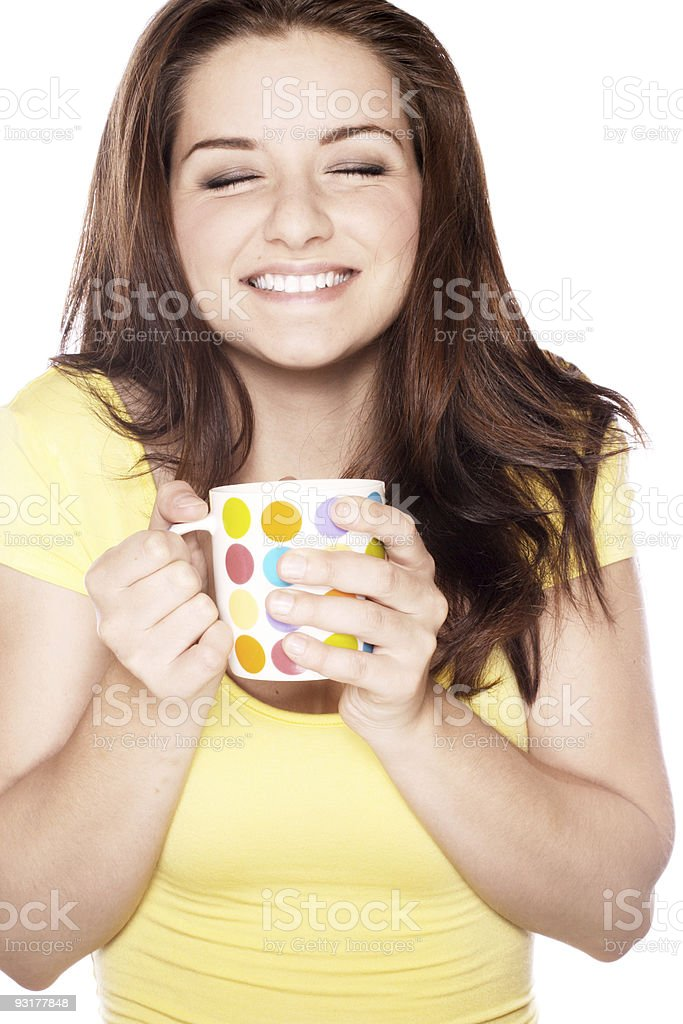 Smiling woman with mug royalty-free stock photo