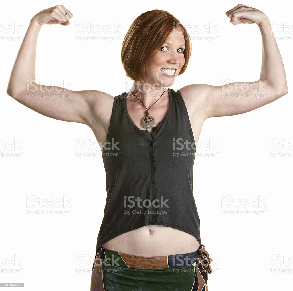 Smiling Woman with Muscles royalty-free stock photo