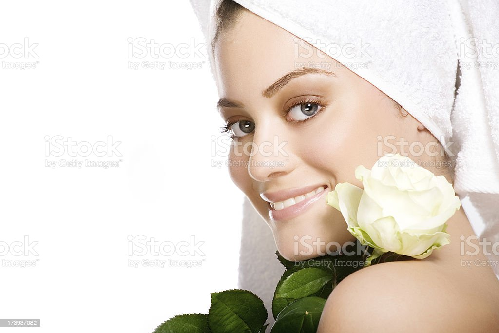 smiling woman with rose stock photo