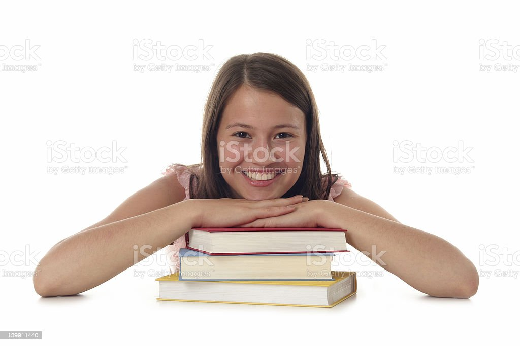 Smiling Woman with Stack of Books royalty-free stock photo