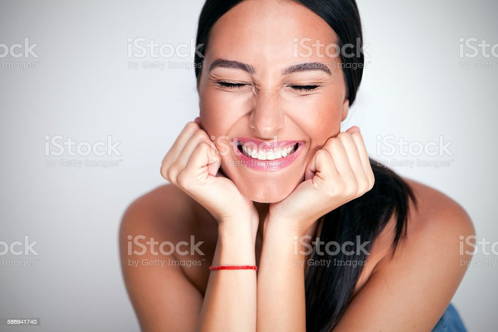 Smiling women stock photo