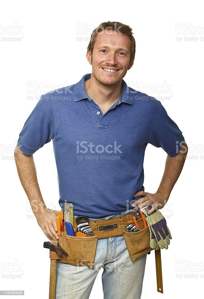 smiling worker on white stock photo