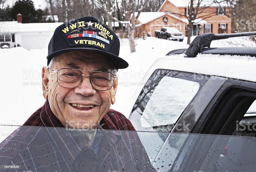 Smiling WWII and Korean War Military Veteran stock photo
