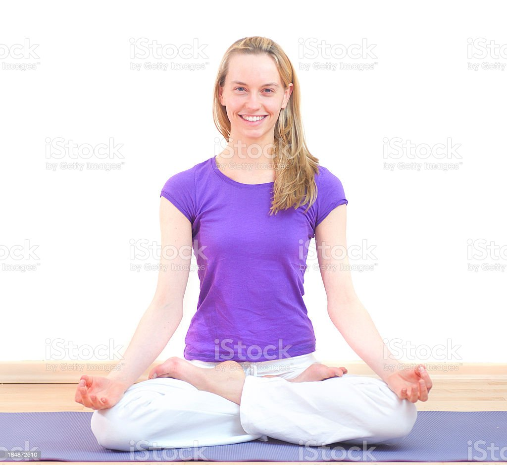smiling yoga woman with brown hair natural look stock photo