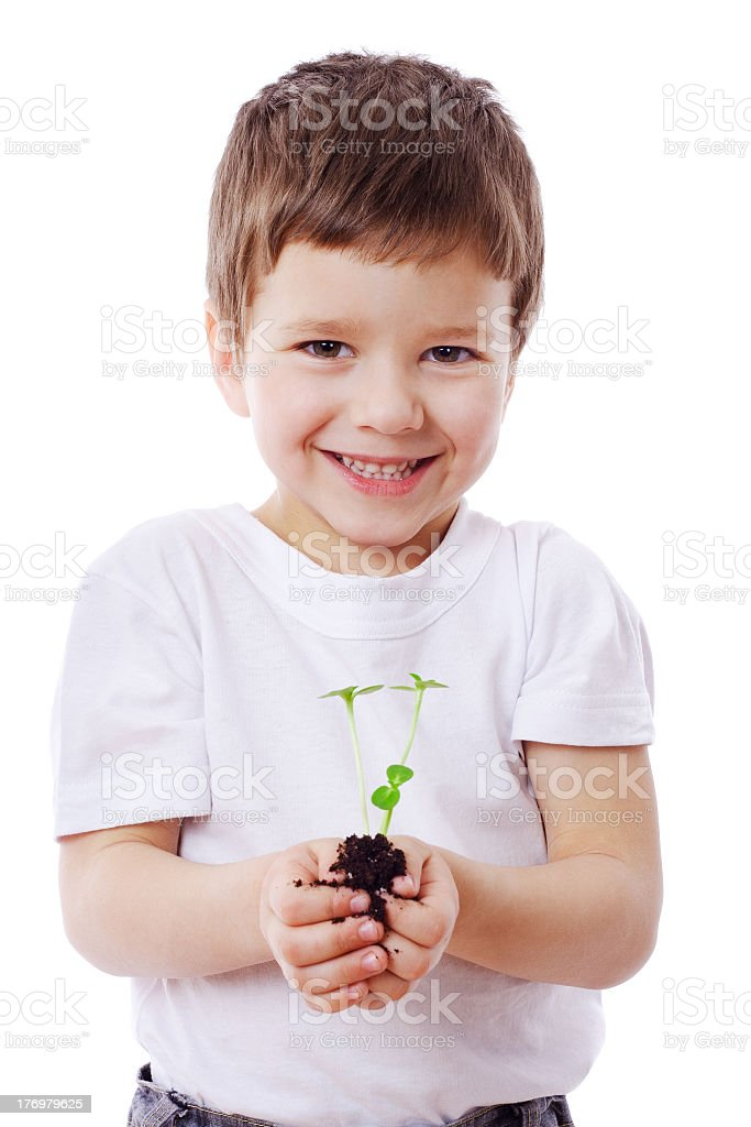 Smiling young boy with seedling plants in his hands royalty-free stock photo