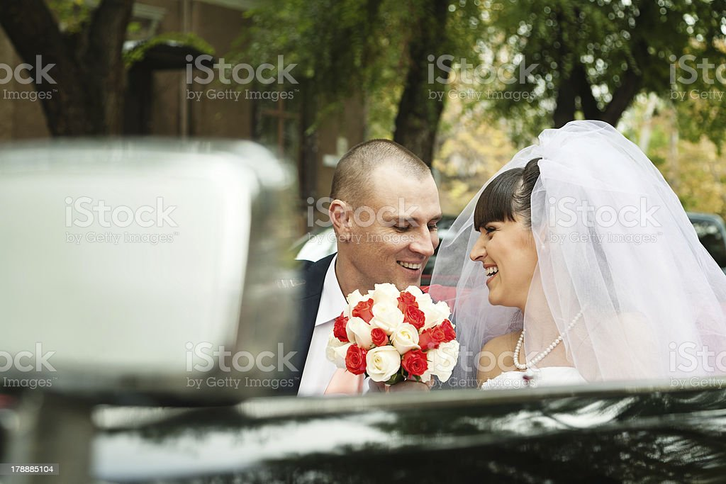 smiling young bride and groom stock photo