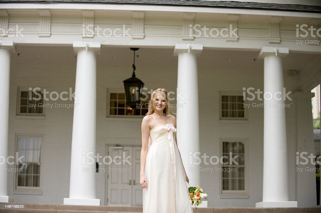 Smiling young bride stock photo