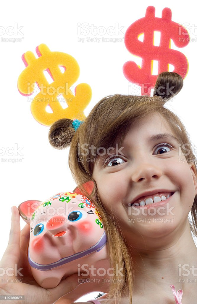 Smiling young business woman thinks of accumulation dollars royalty-free stock photo