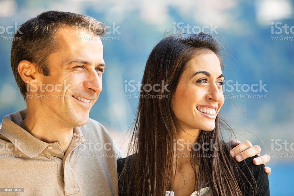 smiling young couple stock photo
