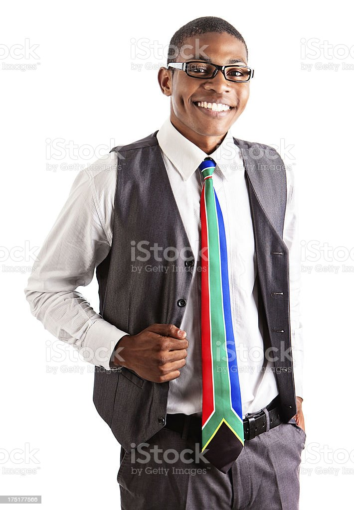 Smiling young executive in spectacles and colorful tie royalty-free stock photo