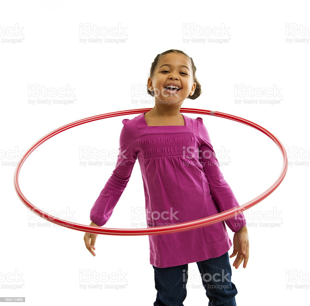 Smiling Young Girl with Hulahoop stock photo