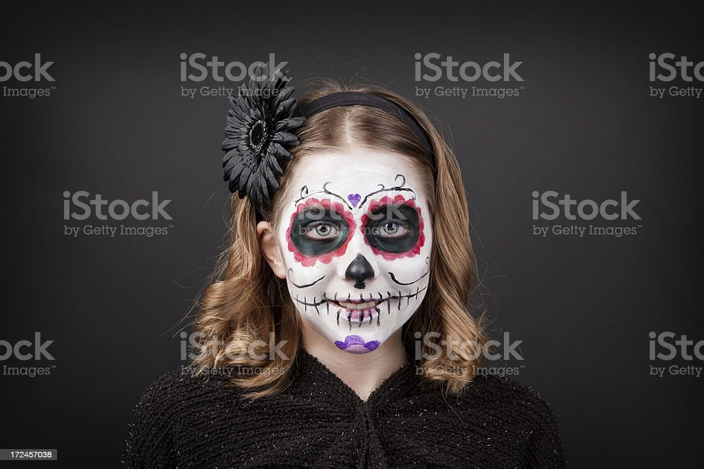Smiling Young Girl With Sugar Skull Make Up royalty-free stock photo