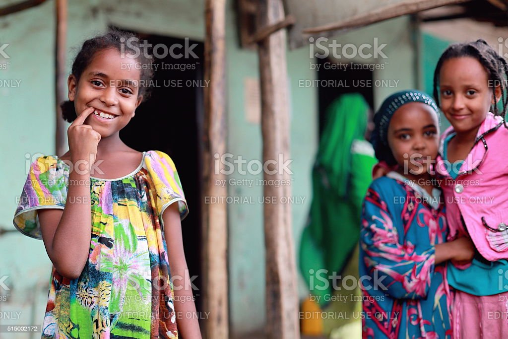 Smiling young girls in the khat market. Degan town-Ethiopia. 0111 stock photo