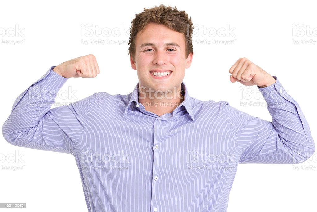 Smiling Young Man Flexing Arms royalty-free stock photo