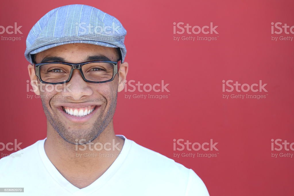Smiling Young man Portrait close up stock photo