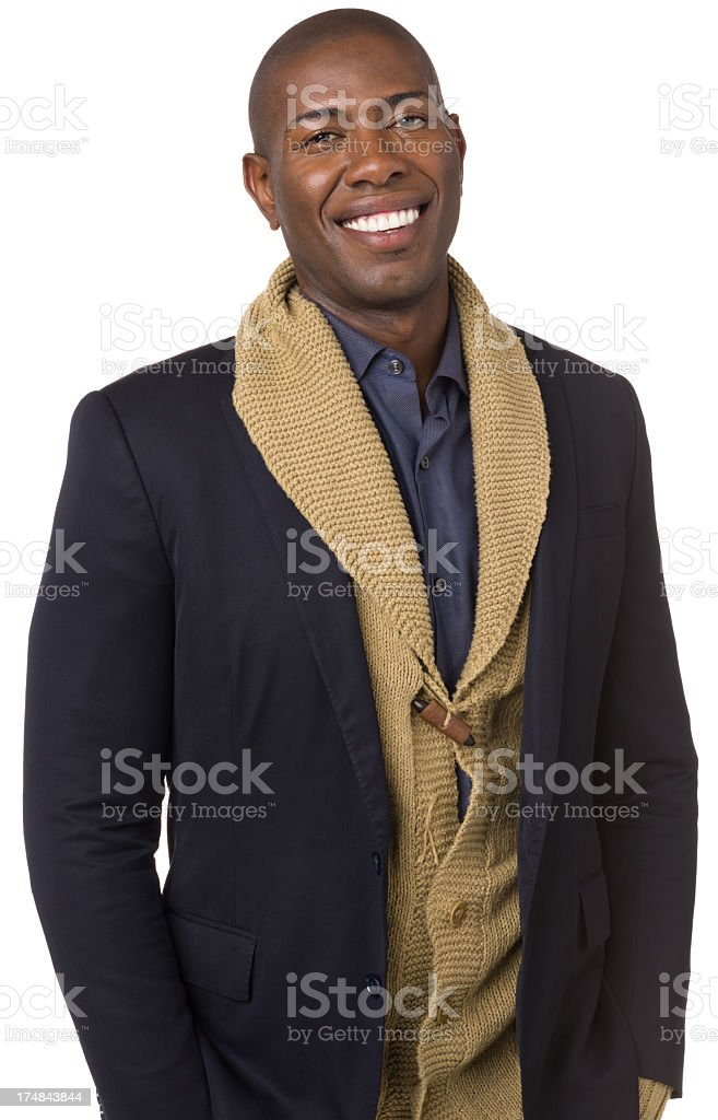 Smiling Young Man Waist Up Portrait royalty-free stock photo