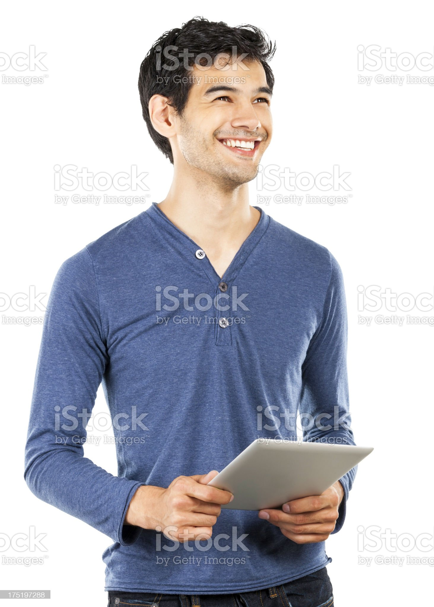 Smiling young man with a tablet isolated on white royalty-free stock photo