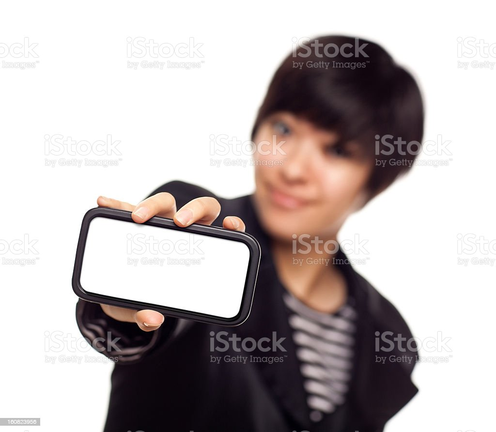 Smiling Young Mixed Race Woman Holding Blank Smart Phone royalty-free stock photo