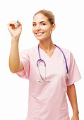 Smiling Young Nurse Writing On Transparent Board