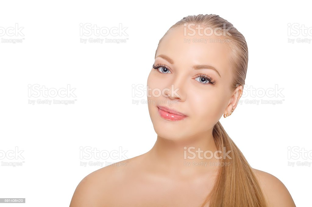Smiling young scandinavian woman after eyelash Extension Procedure. Woman Eyes stock photo