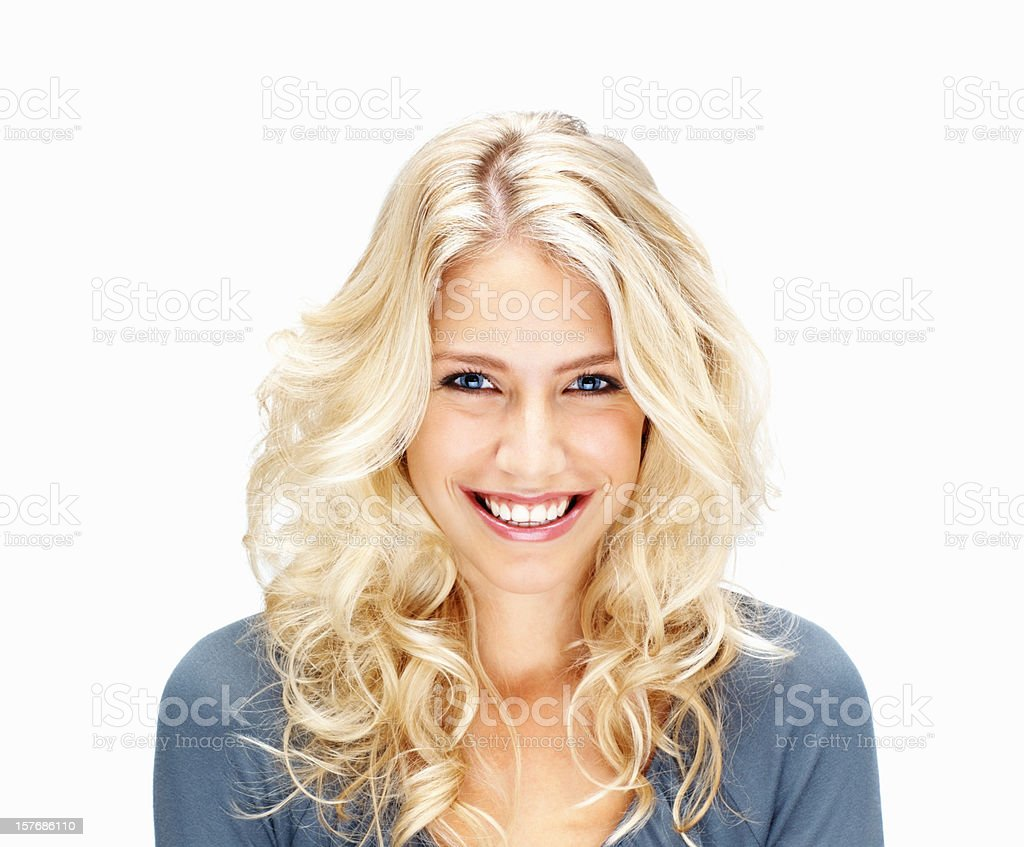 Smiling young woman against white background royalty-free stock photo