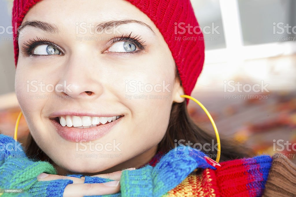 Smiling young woman autumn portrait royalty-free stock photo