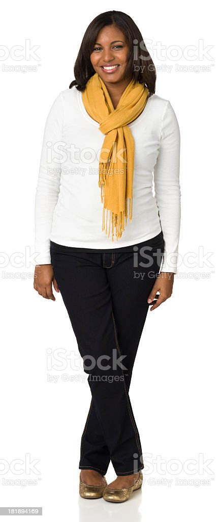 Smiling Young Woman Casual Full-Length Portrait royalty-free stock photo