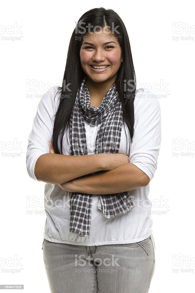 Smiling Young Woman Crosses Arms royalty-free stock photo