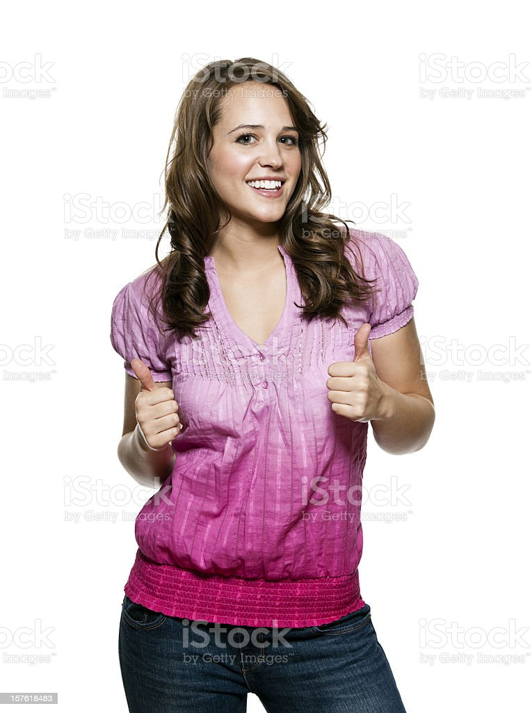 Smiling Young Woman Giving Thumbs Up royalty-free stock photo