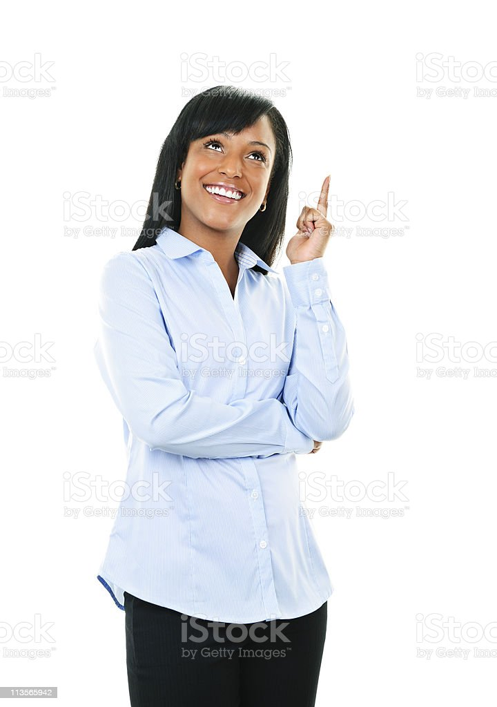 Smiling young woman has idea royalty-free stock photo