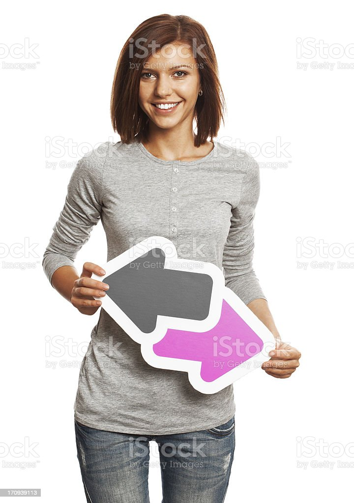 Smiling young woman holding data trade sign isolated on white. royalty-free stock photo