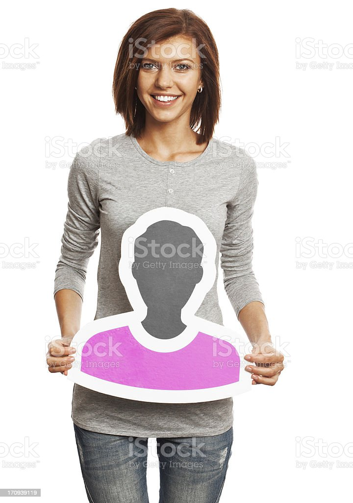 Smiling young woman holding profile image sign isolated on white. stock photo