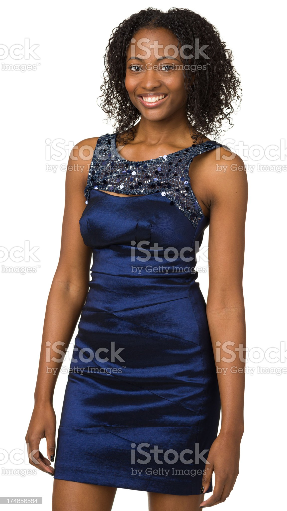 Smiling Young Woman In Blue Dress royalty-free stock photo