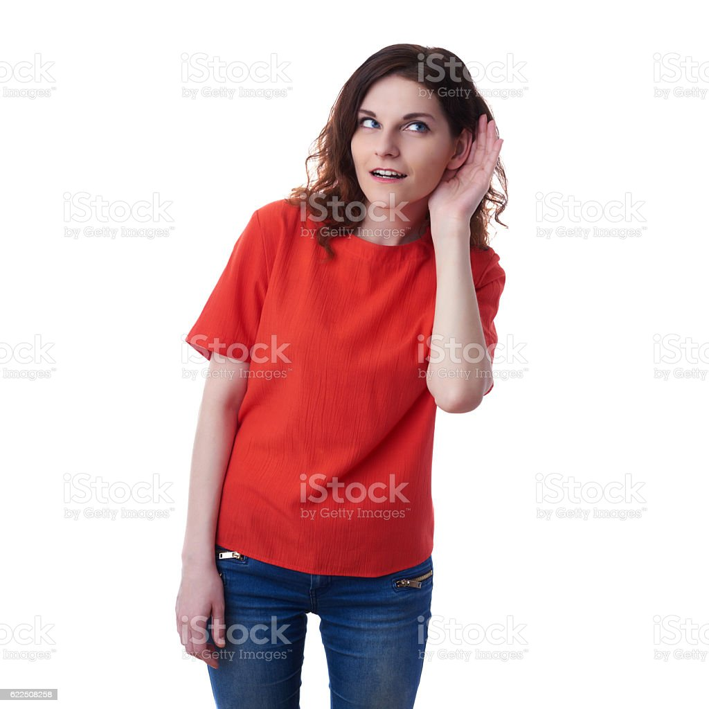 Smiling young woman over white isolated background stock photo