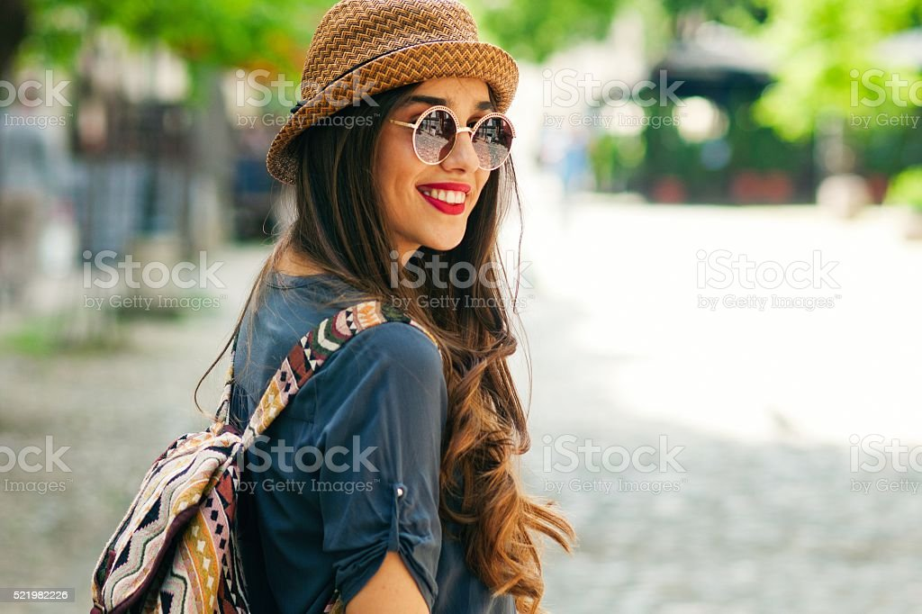 Smiling young woman. stock photo