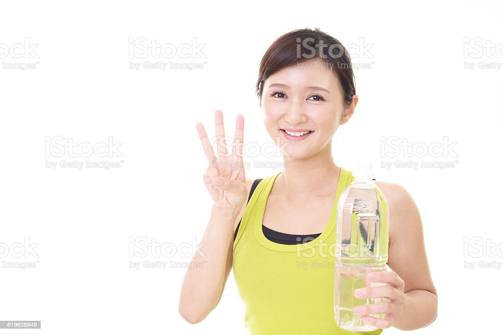 Smiling young woman stock photo