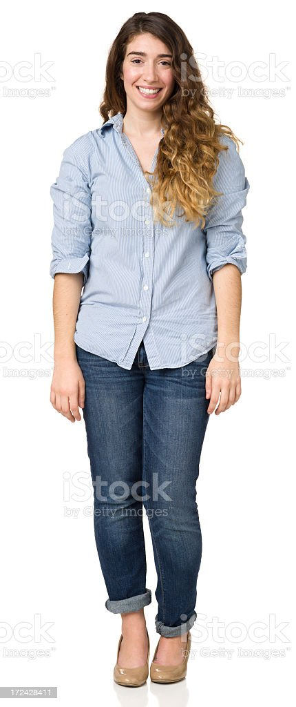 Smiling Young Woman Standing Full Length Portrait royalty-free stock photo