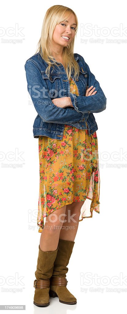 Smiling Young Woman Standing Portrait royalty-free stock photo