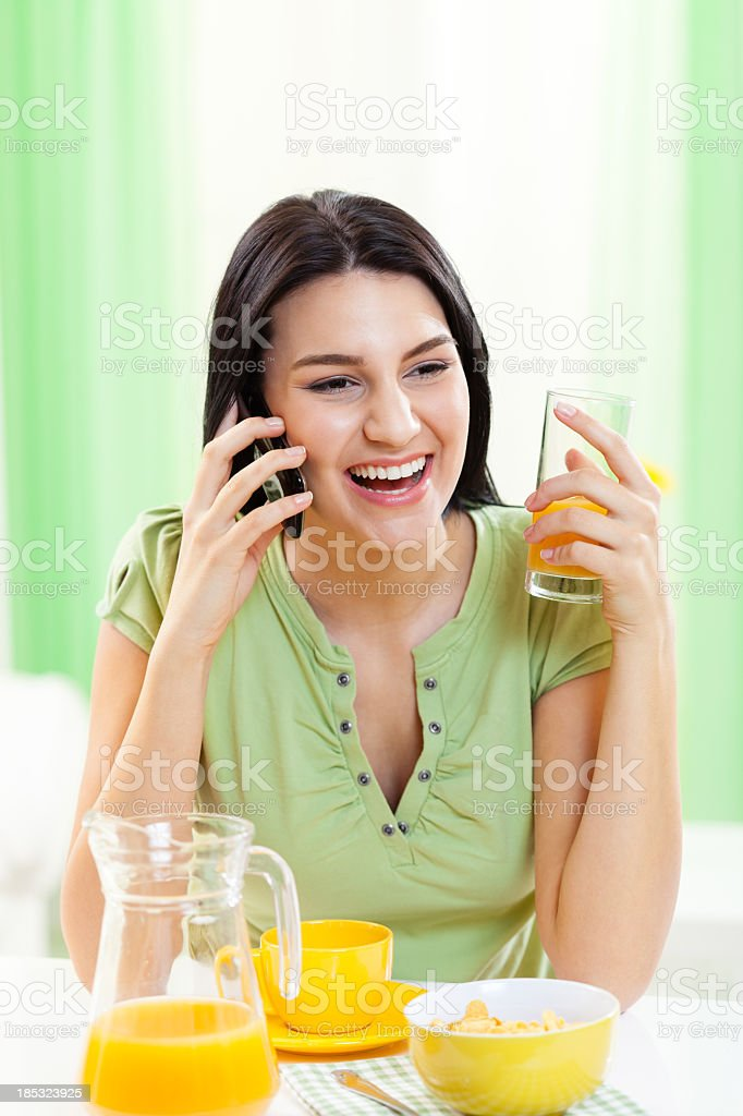 Smiling young woman talking on the mobile phone royalty-free stock photo