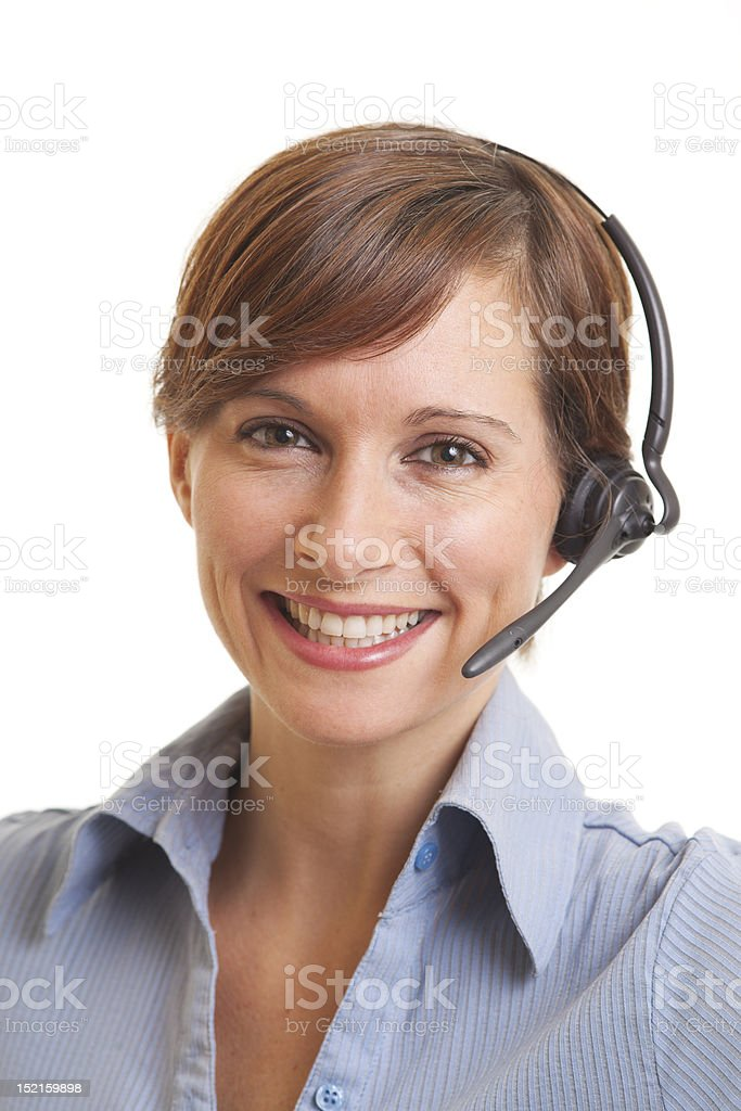 Smiling young woman telemarketer royalty-free stock photo